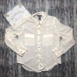 ⚡️About a Girl Sheer Long Sleeve Button Down Top